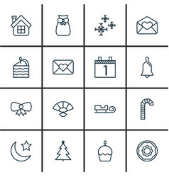 set of 16 happy new year icons includes agenda vector image