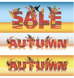 set of autumn sale poster design template vector image