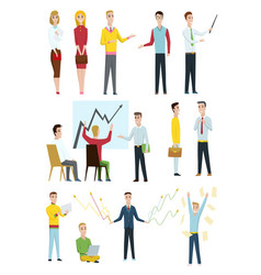 set of business characters working in office vector image