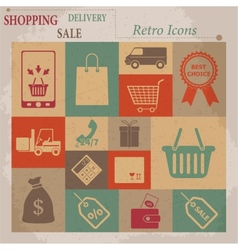 Shopping Flat Retro Icons vector image