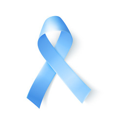 Silk blue ribbon over white background realistic vector