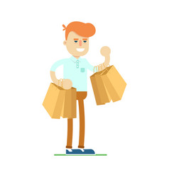 smiling man with shopping bag icon vector image