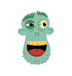 smiling zombie head avatar in cartoon style vector image