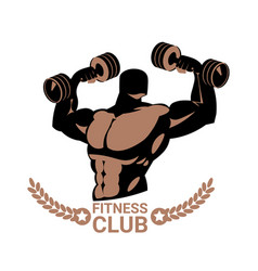 strong man holding barbells on modern fitness gym vector image