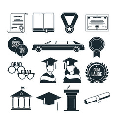 Students graduation party in monochrome style vector