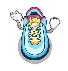 Successful cartoon pair of casual sneakers vector
