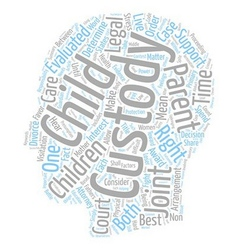 The court determines child custody text background vector