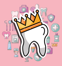 tooth in crown dental care and treatment vector image