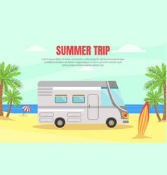travel van informative banner for renting vector image