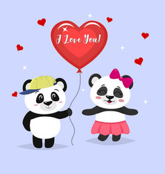 two cute pandas stand the boy is holding a red vector image
