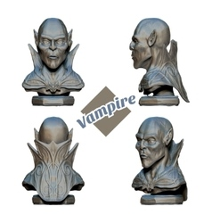 Vampire bust in four projections vector