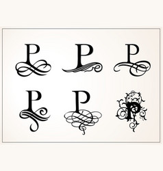 Vintage set capital letter p for monograms and vector