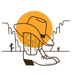 Wild west with cowboy boots and western hat on vector