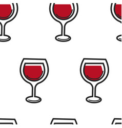 wine in glass alcohol drink seamless pattern vector image