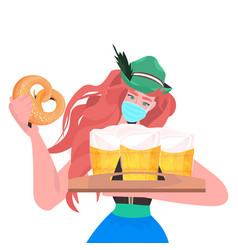 Woman in medical mask holding beer mugs and salty vector