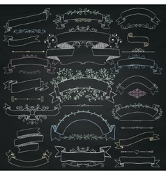 Chalk drawing floral design elements ribbons vector