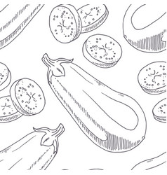 hand drawn seamless pattern with eggplant vector image vector image