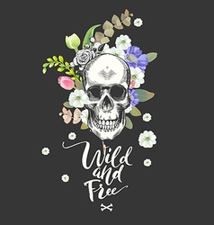 Smiling Skull and Flowers Day of The Dead Black vector image