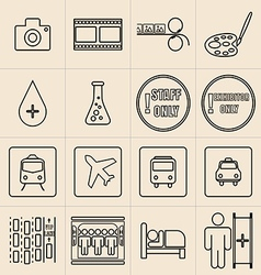 Exhibition Line Icons Set vector image vector image