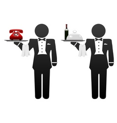 room service waiter vector image vector image