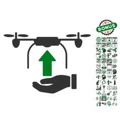 Send Drone Hand Icon With Bonus vector image