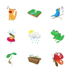 Spring icons set cartoon style vector image