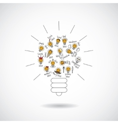 Color bulb creative symbol of ideas object isolate vector image
