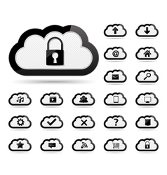 Icons in clouds vector image vector image