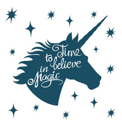 Inspiring unicorn silhouette with positive phrase vector