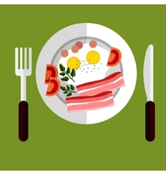 Tasty breakfast of eggs and bacon vector image