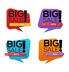 big sale stickers collection isolated on white vector image