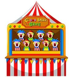 Clown ball game at the circus vector image