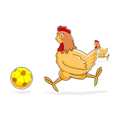 hen playing with soccer ball vector image vector image