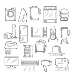 Home and kitchen appliance icons set vector image