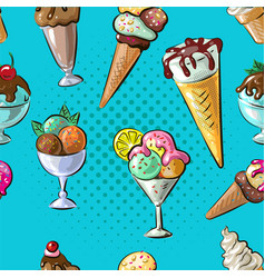 ice cream seamless pattern different type n blue vector image vector image