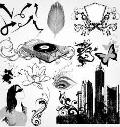 urban elements set vector image