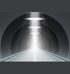 3d abstract dark underground road long tunnel vector