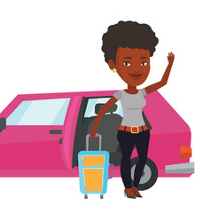 African-american woman traveling by car vector