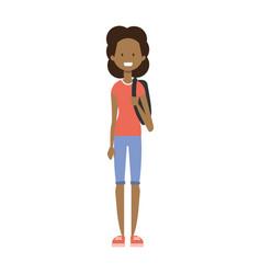 African girl with backpack full length avatar vector