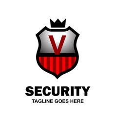alphabetical security logo design with creative vector image