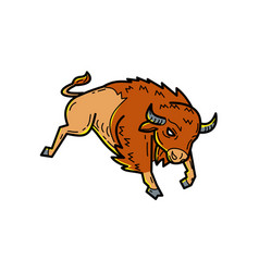 American buffalo jumping mono line vector