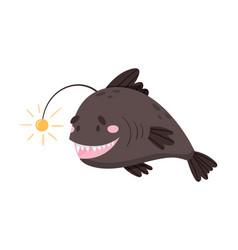 Anglerfish as sea animal floating underwater vector