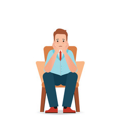 Anxious man feeling sadness and stress sitting vector