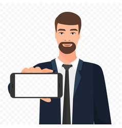 Bearded businessman showing the empty smartphone vector