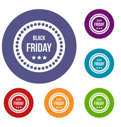black friday sticker icons set vector image