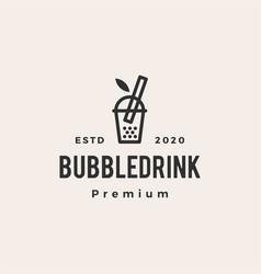 bubble drink boba hipster vintage logo icon vector image
