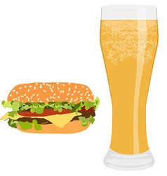 Burger and beer vector image