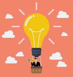 Businessman in lightbulb balloon search to success vector