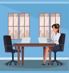 businesswoman at office vector image