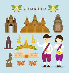 cambodia landmarks and objects design elements vector image